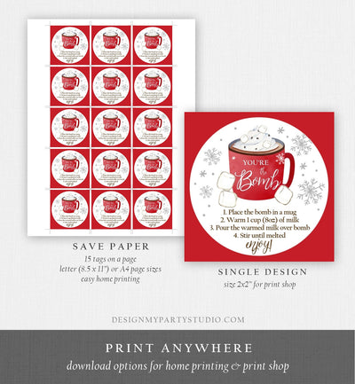 Editable Hot Chocolate Bomb Tags Bomb Instructions Cookies and Cocoa Favor Tags Winter Christmas You're The Bomb Digital PRINTABLE 0353