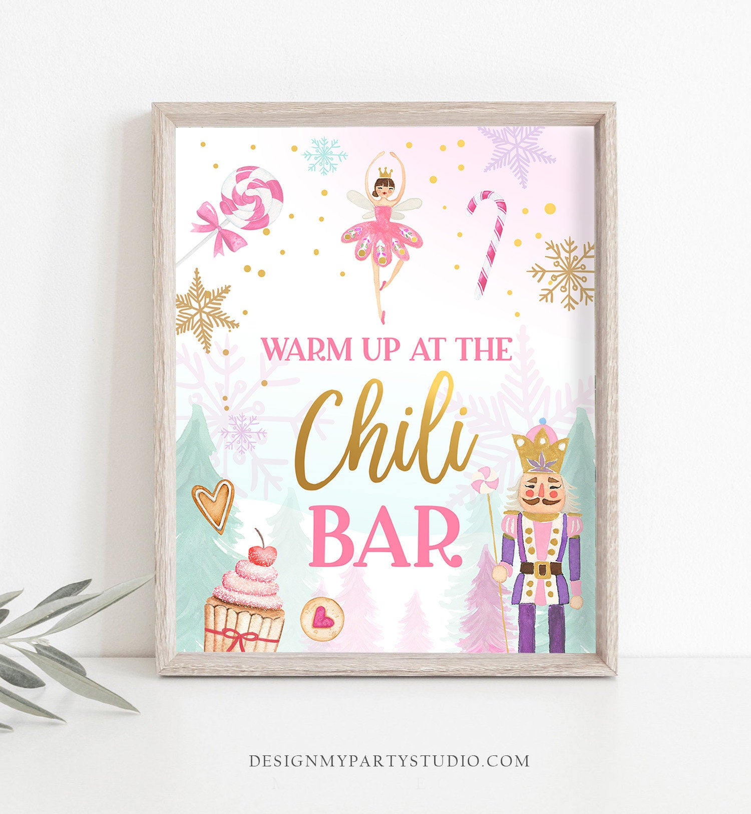 Chili Bar Sign Nutcracker Birthday Decor Hot Food Table Sign Girl Sugar Plum Fairy Pink Nutcracker Ballet Decor Download Printable 0352