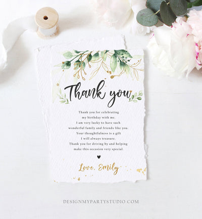 Editable Gold Leaves Baby Shower Thank You Card Drive By Through Social Distancing Birthday Wedding Floral Greenery Corjl Template 0168