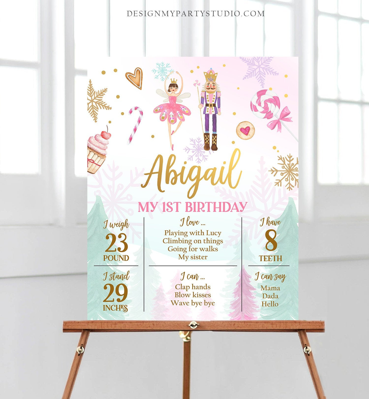 Editable Nutcracker Birthday Milestones Sign Girl First Birthday 1st Birthday Land of Sweets Milestone Board Corjl Template Printable 0352
