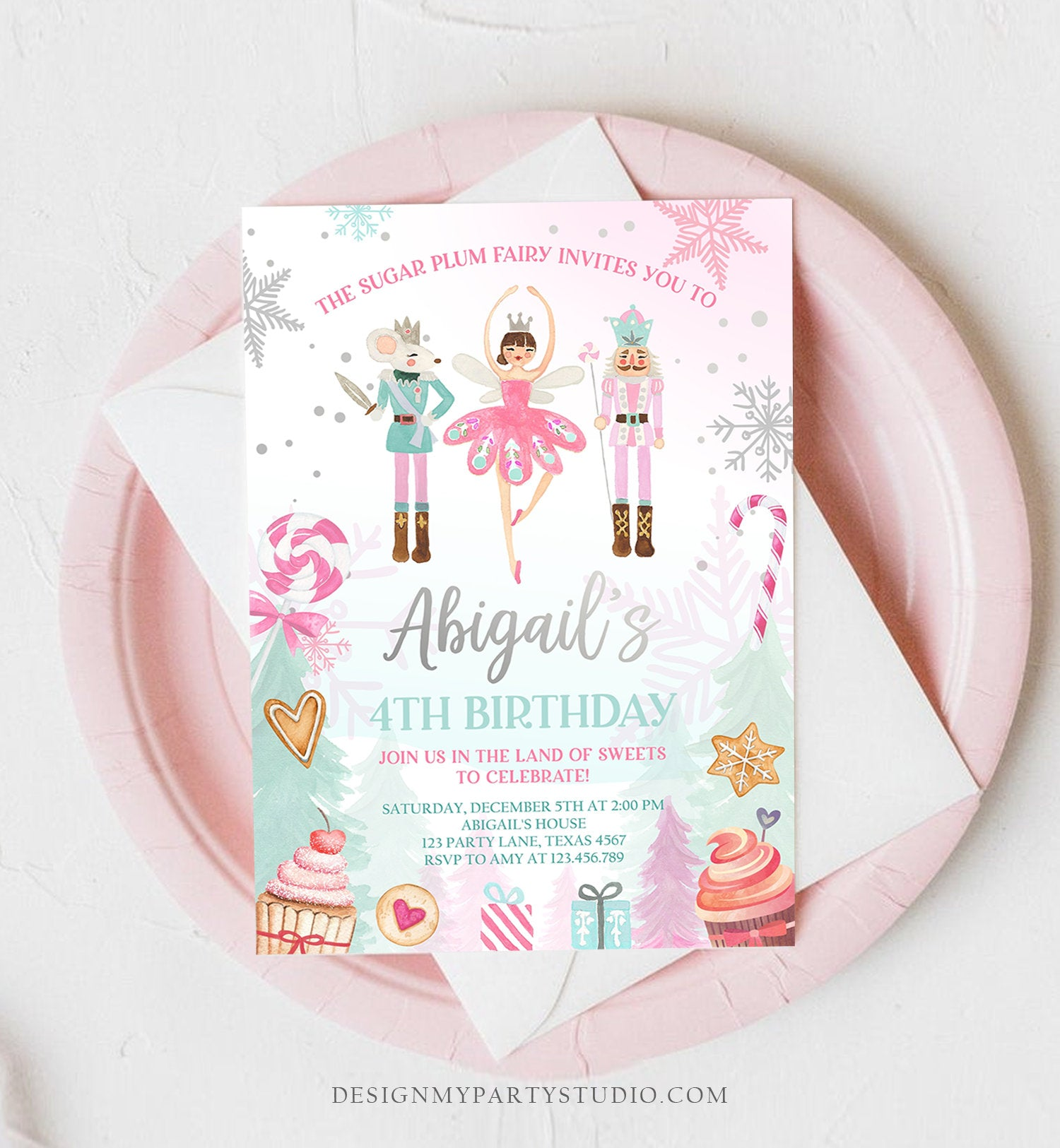 Editable Nutcracker Birthday Invitation Girl Land of Sweets Invite Winter Pink Girl Sugar Plum Fairy Download Printable Template Corjl 0352