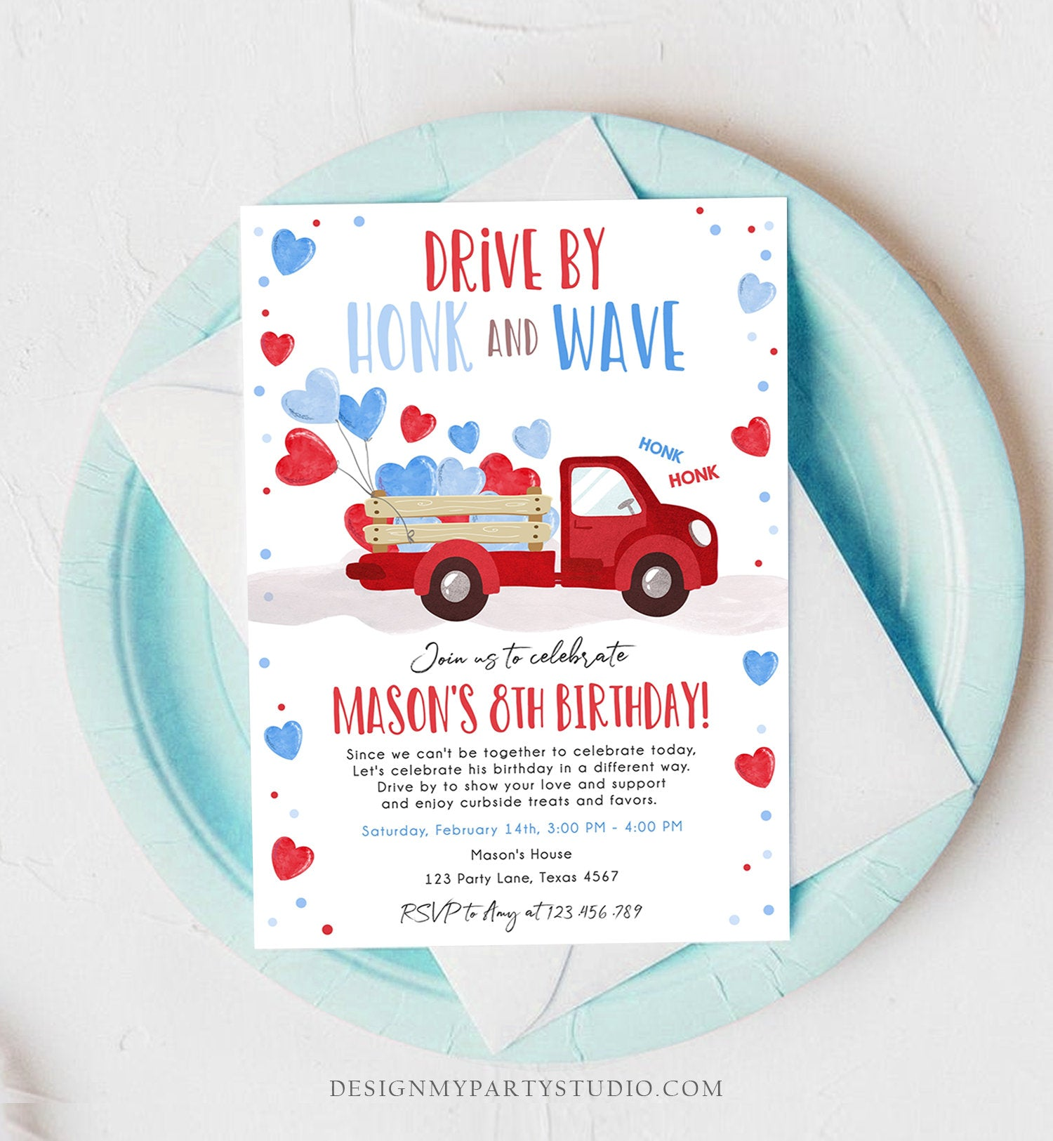 Editable Little Heartbreaker Drive By Birthday Invitation Valentine Boy Sweetheart Red Blue Drive Through Corjl Template Printable 0365