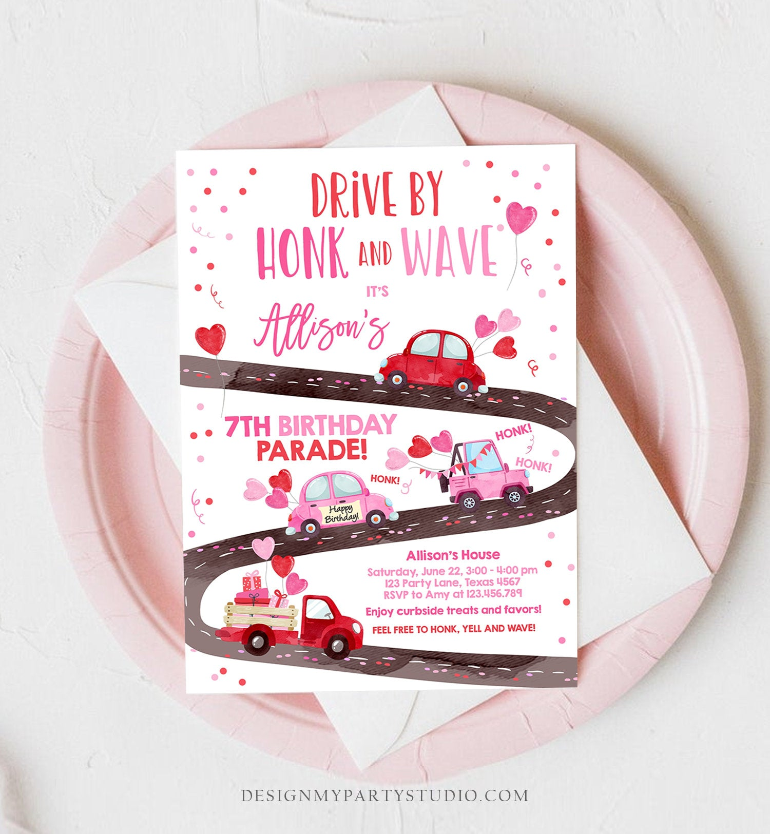 Editable Little Sweetheart Drive By Birthday Invitation Valentine Girl Hearts Pink Drive Through First 1st Corjl Template Printable 0365