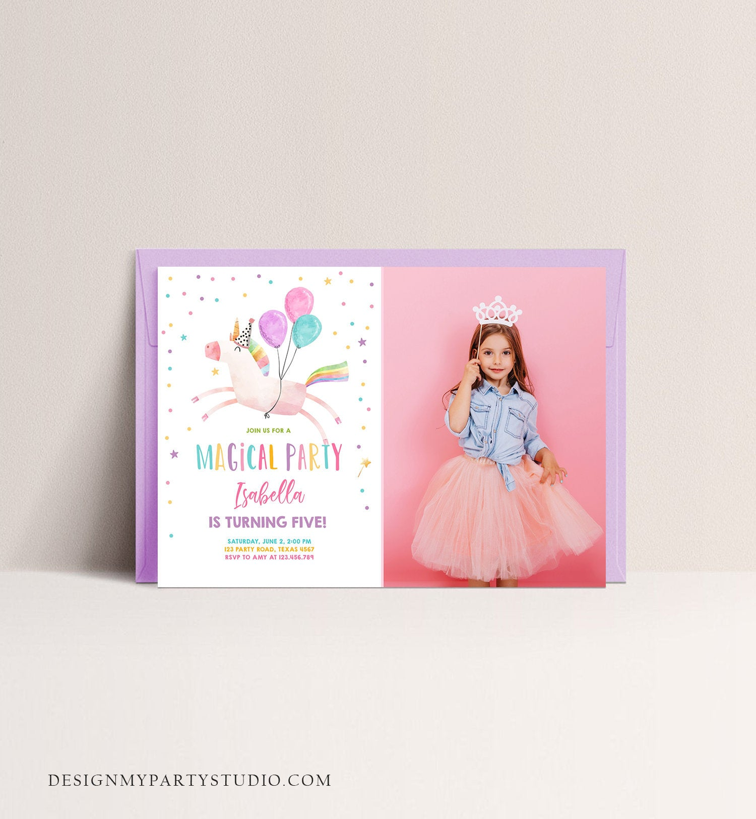 Editable Unicorn Birthday Invitation Magical Party Invite Girl Pink First Birthday Digital Invite Template Reainbow Download Corjl 0336