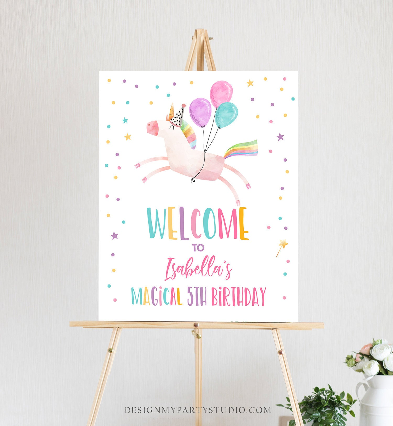 Editable Unicorn Welcome Sign Unicorn Birthday Door Sign Rainbow Girl Magical Party Sign Poster Pink First Template PRINTABLE Corjl 0336