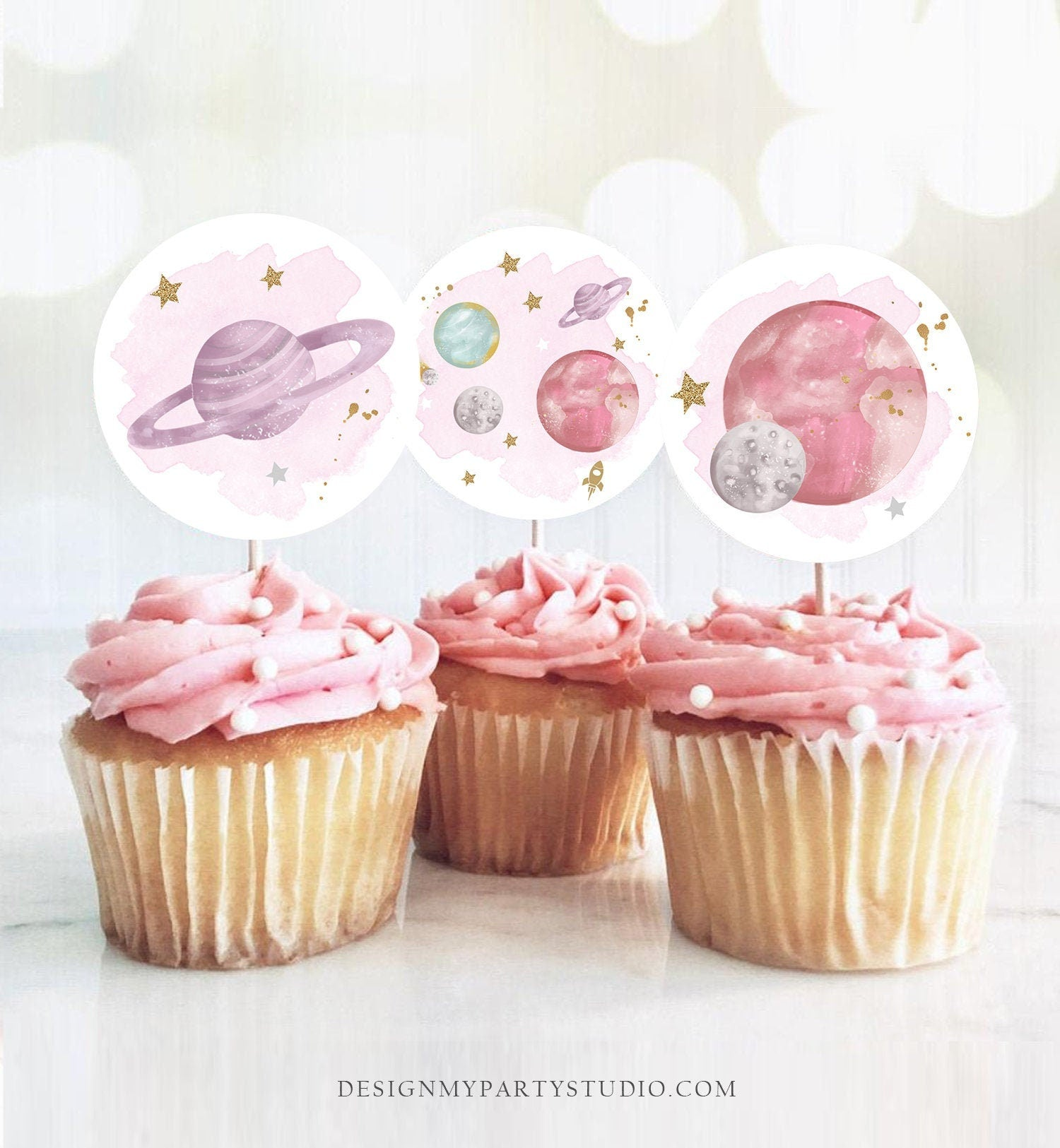 Outer Space Birthday Cupcake Toppers First Trip Around the Sun Favor Tags Space Birthday Planets Galaxy Girl Pink Digital PRINTABLE 0357