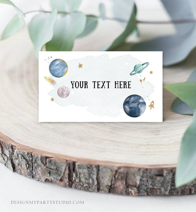 Editable Food Labels Outer Space Birthday Galaxy Food Labels Place Card Tent Card Escort Card Astronaut Around the Sun Template Corjl 0357