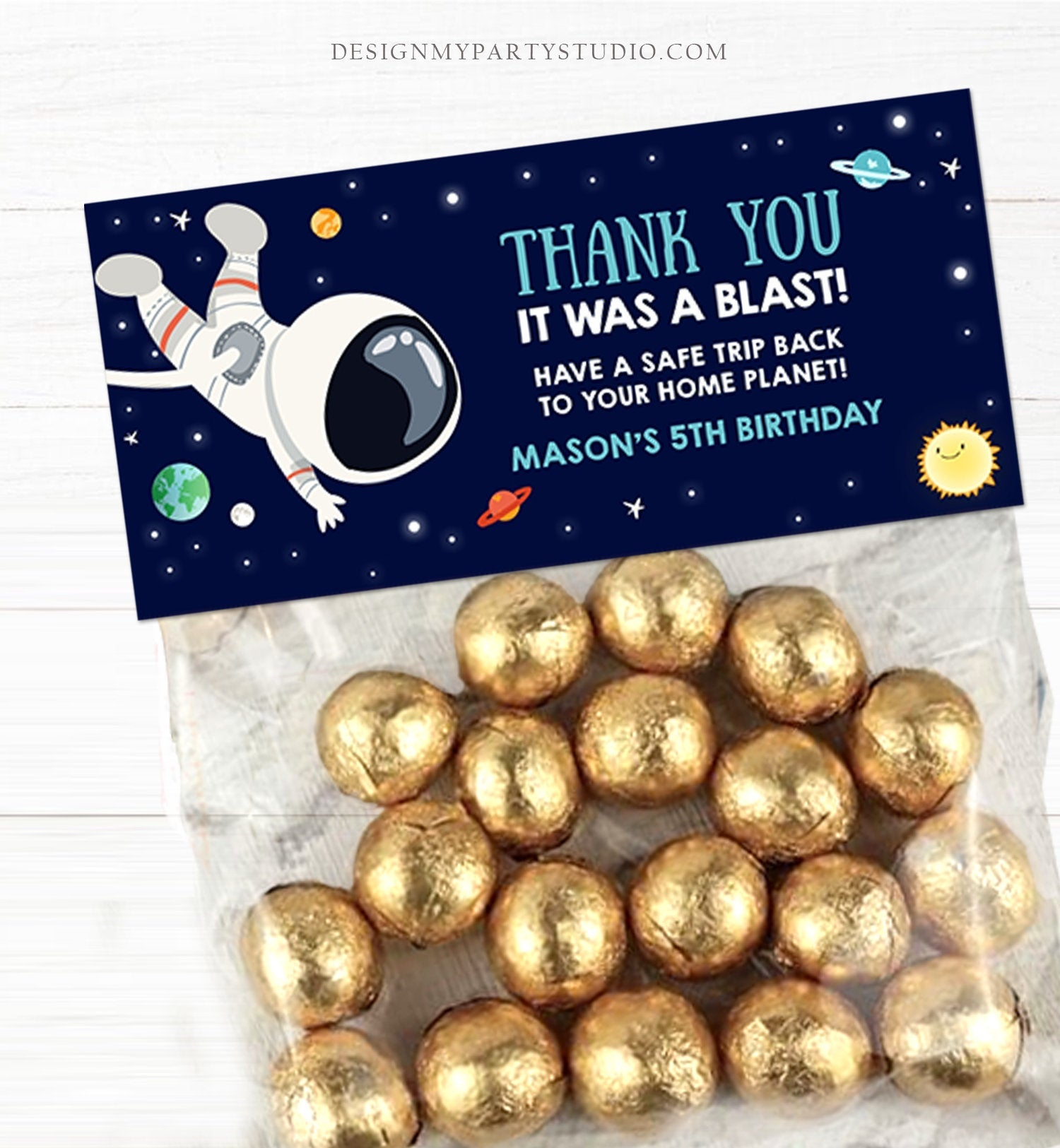 Editable Outer Space Astronaut Treat Bag Toppers Birthday Party Thank You It Was a Blast Sun Houston Boy Blast Off Corjl Template 0259