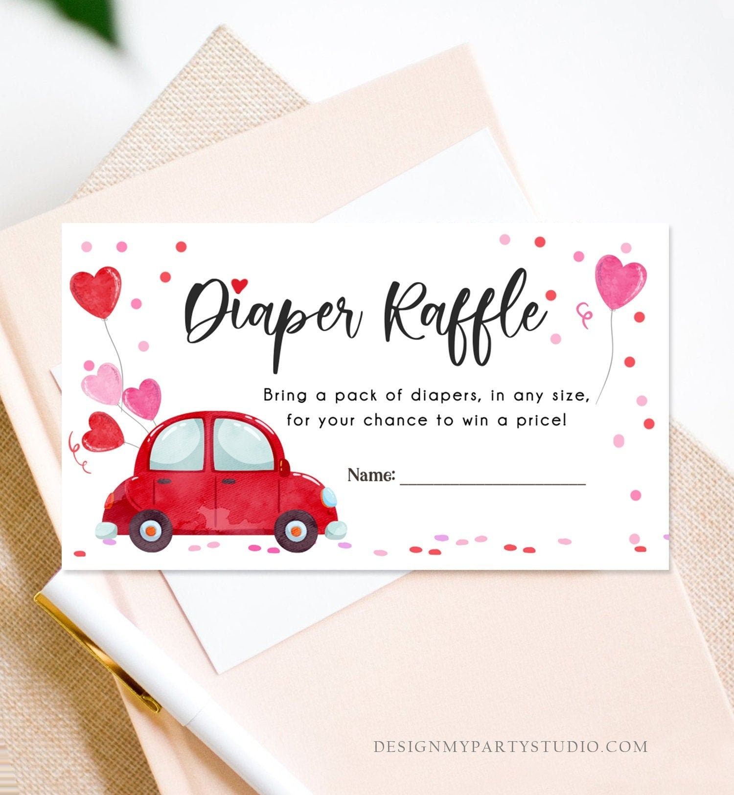 Editable Drive By Diaper Raffle Ticket Sweetheart Valentine Baby Shower Hearts Pink Girl Red Through Car Diaper Game Corjl Template 0365