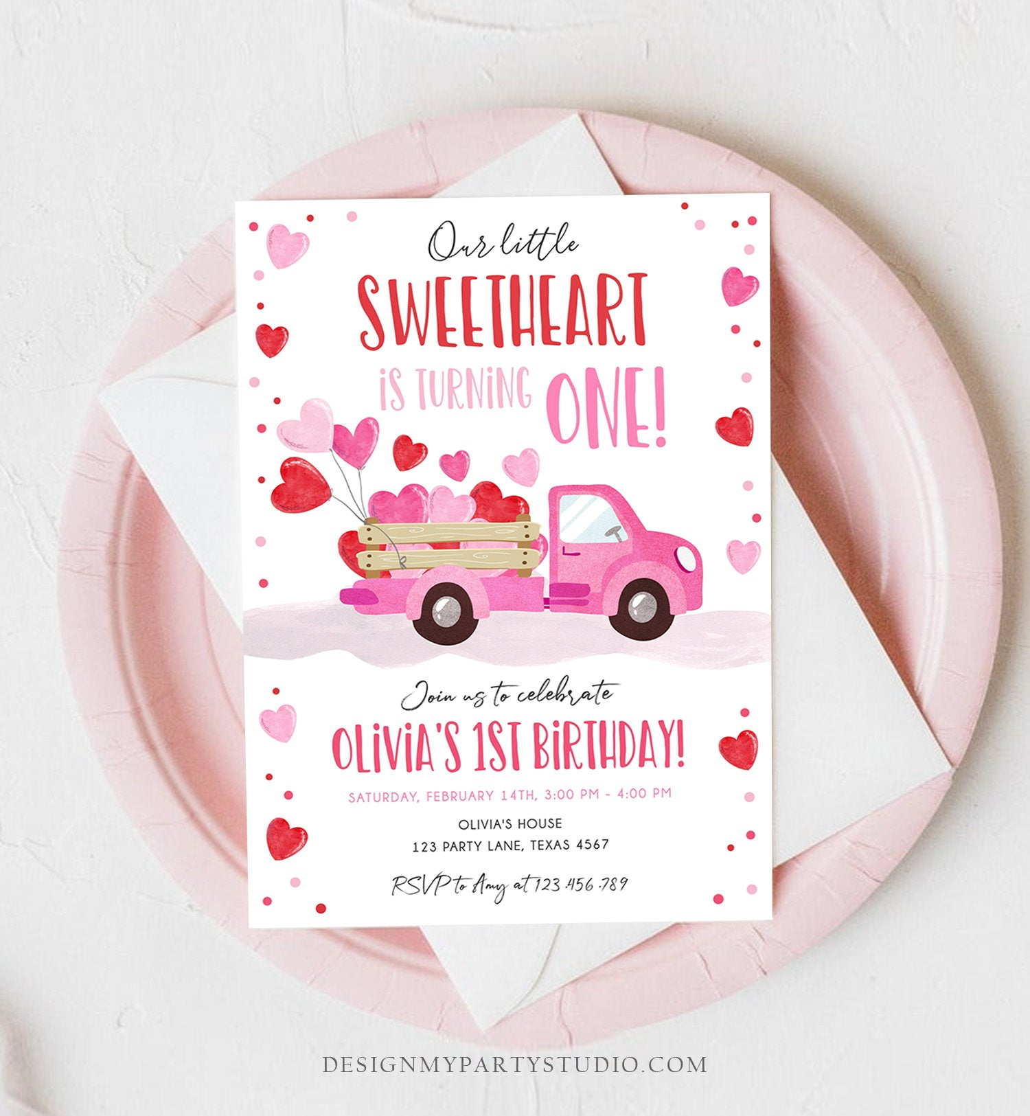 Editable Little Sweetheart Birthday Invitation Valentine Girl Hearts Pink Red First Birthday 1st Download Corjl Template Printable 0365