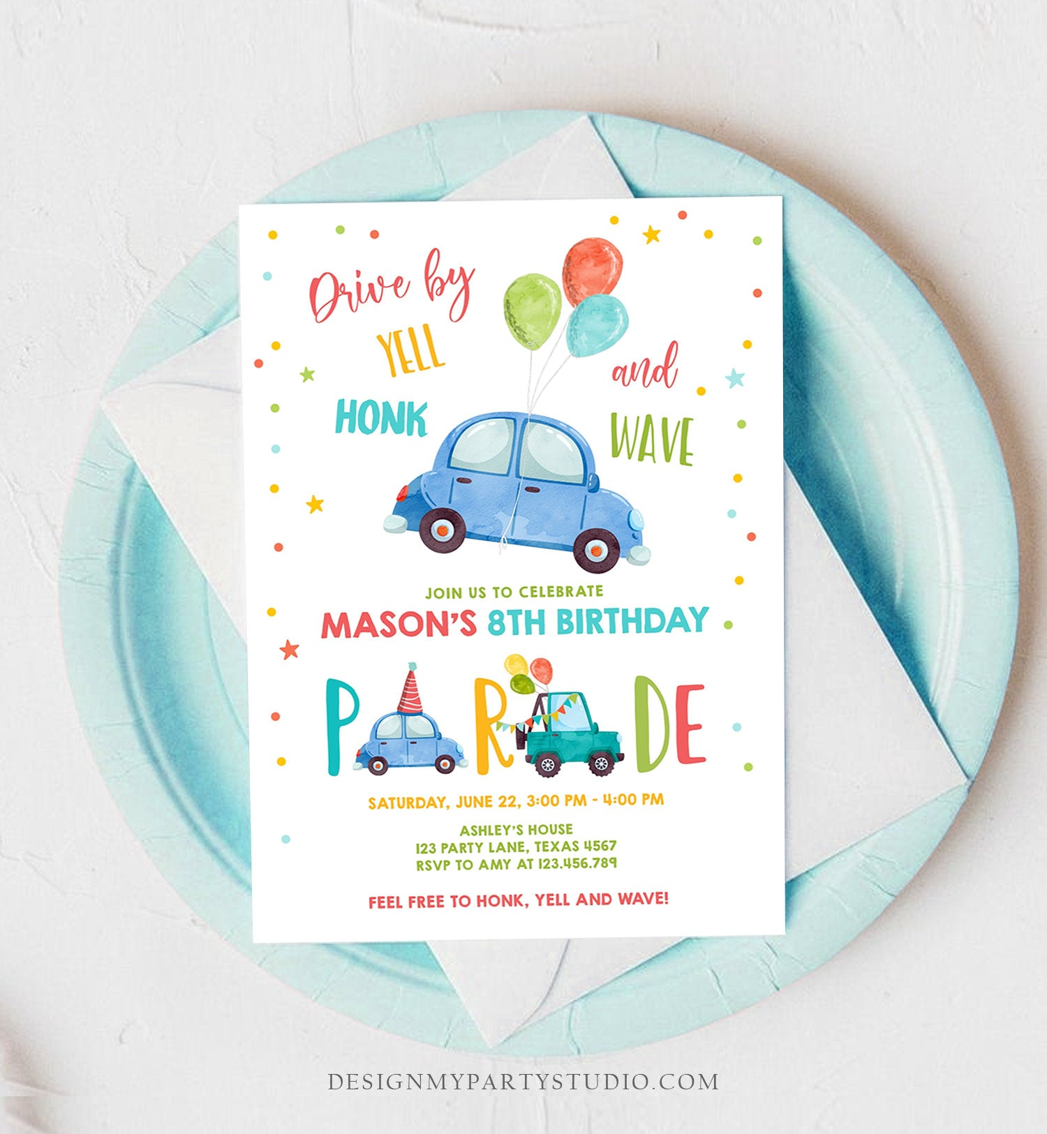 Editable Drive By Birthday Parade Invitation Balloons Rainbow Party Honk Wave Car Boy Blue Drive Through Download Corjl Template 0333