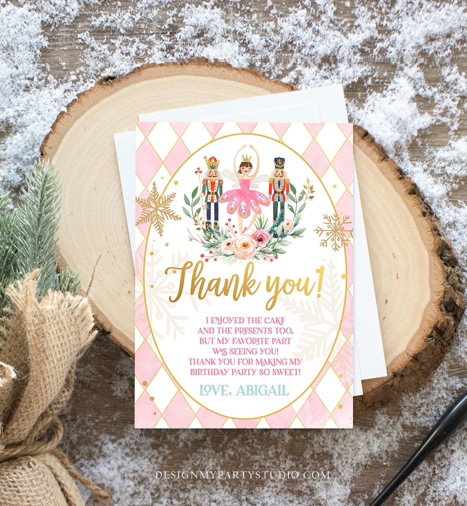 Editable Thank You Card Nutcracker Birthday Land of Sweets Thank You Note Sugar Plum Fairy Girl Pink Gold Label Corjl Template Digital 0352