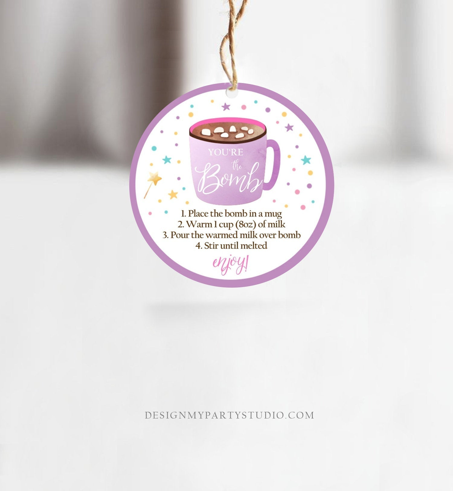 Editable Hot Chocolate Bomb Tags Bomb Instructions Valentine You're The Bomb Sticker Magical Purple Lavender Digital PRINTABLE 0336