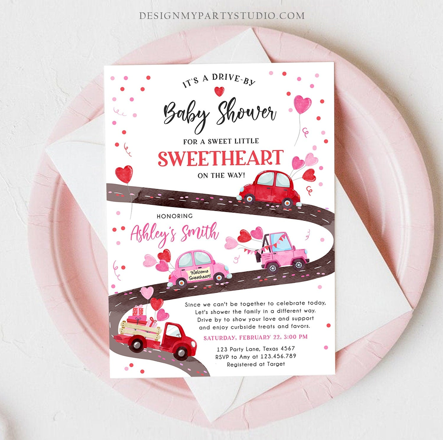 Editable Drive By Little Sweetheart Baby Shower Invitation Valentine Pink Girl Hearts Drive Through Truck Corjl Template Printable 0365