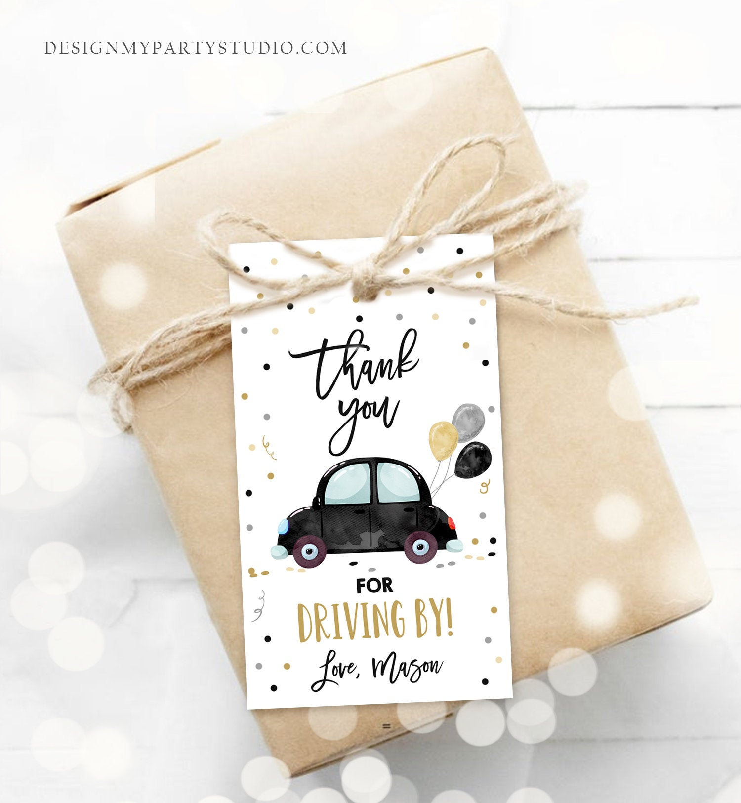 Editable Drive By Favor Tag Birthday Parade Drive Through Favors Party Thank You Gift Quarantine Black Car Corjl Template Printable 0333