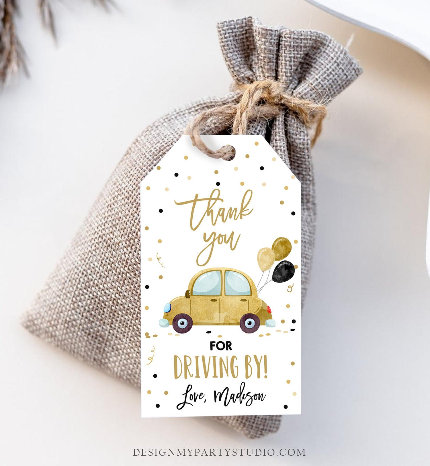 Editable Drive By Favor Tag Birthday Parade Drive Through Favors Party Thank You Gift Quarantine Gold Car Corjl Template Printable 0333