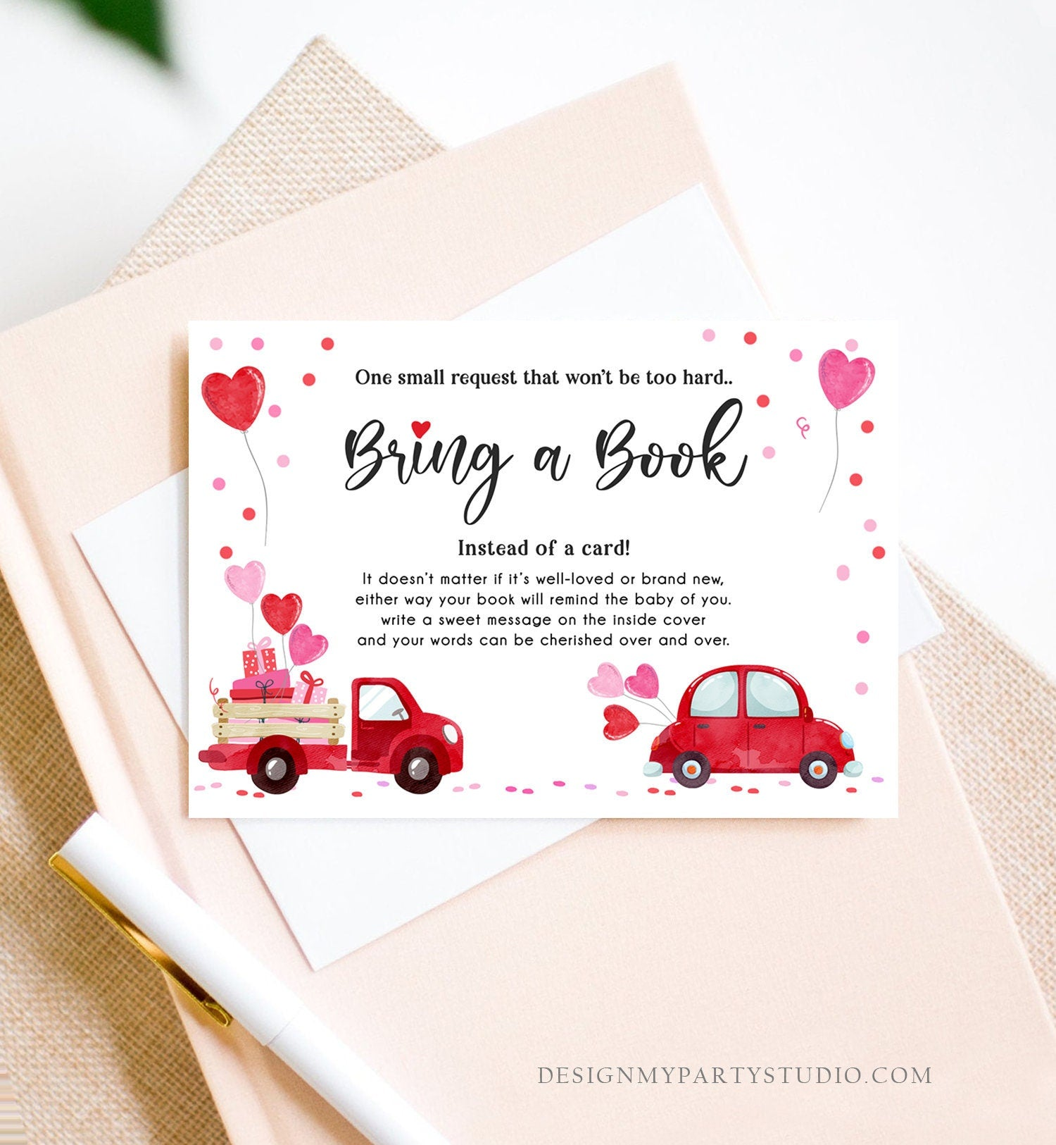 Editable Drive By Bring a Book Card Baby Shower Sweetheart Valentine Pink Girl Drive Through Book Request Car Red Truck Corjl Template 0365