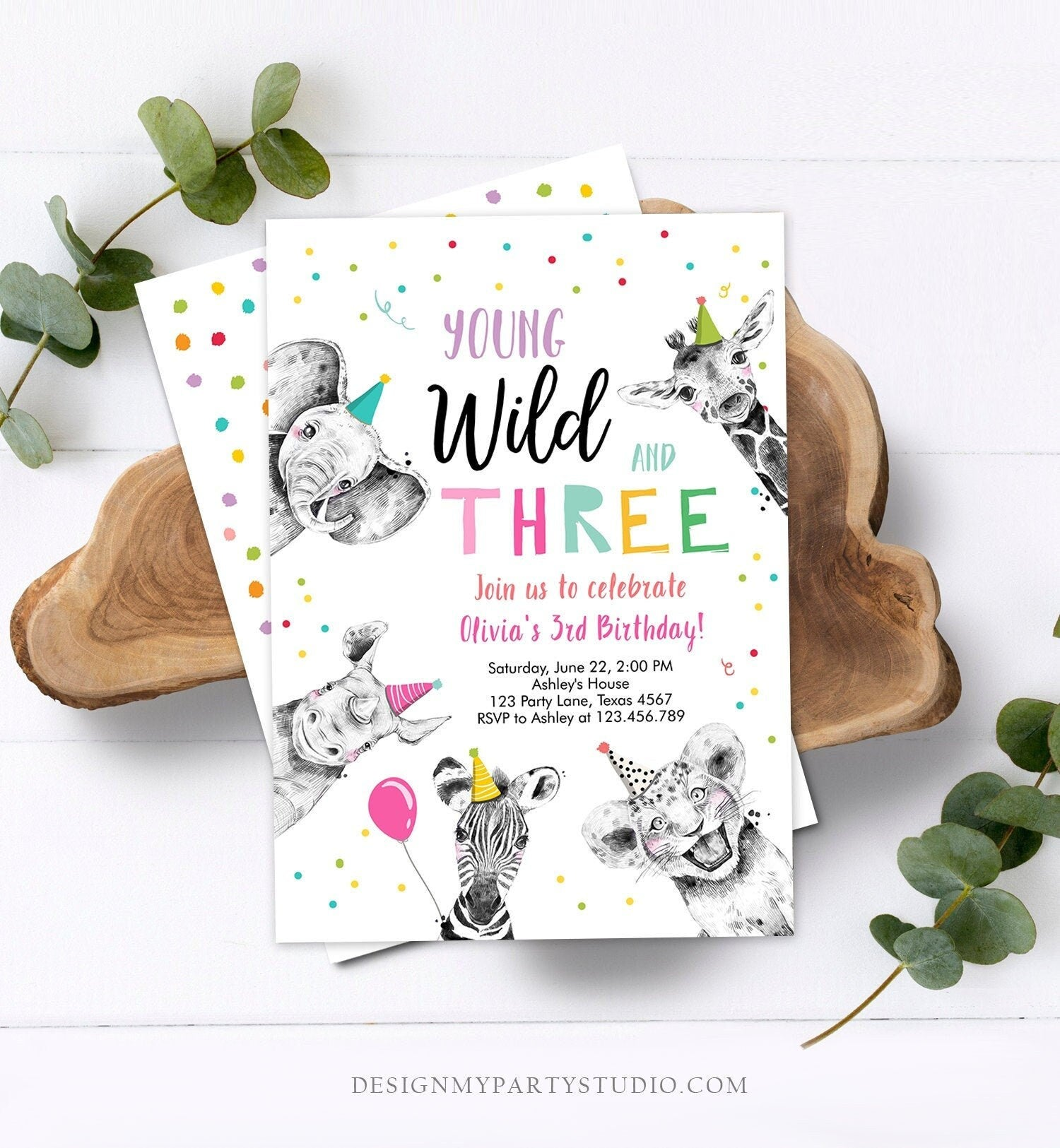 Editable Young Wild and Three Birthday Invitation Girl Pink and Gold Safari Animals Instant Download Printable Template Digital Corjl 0390
