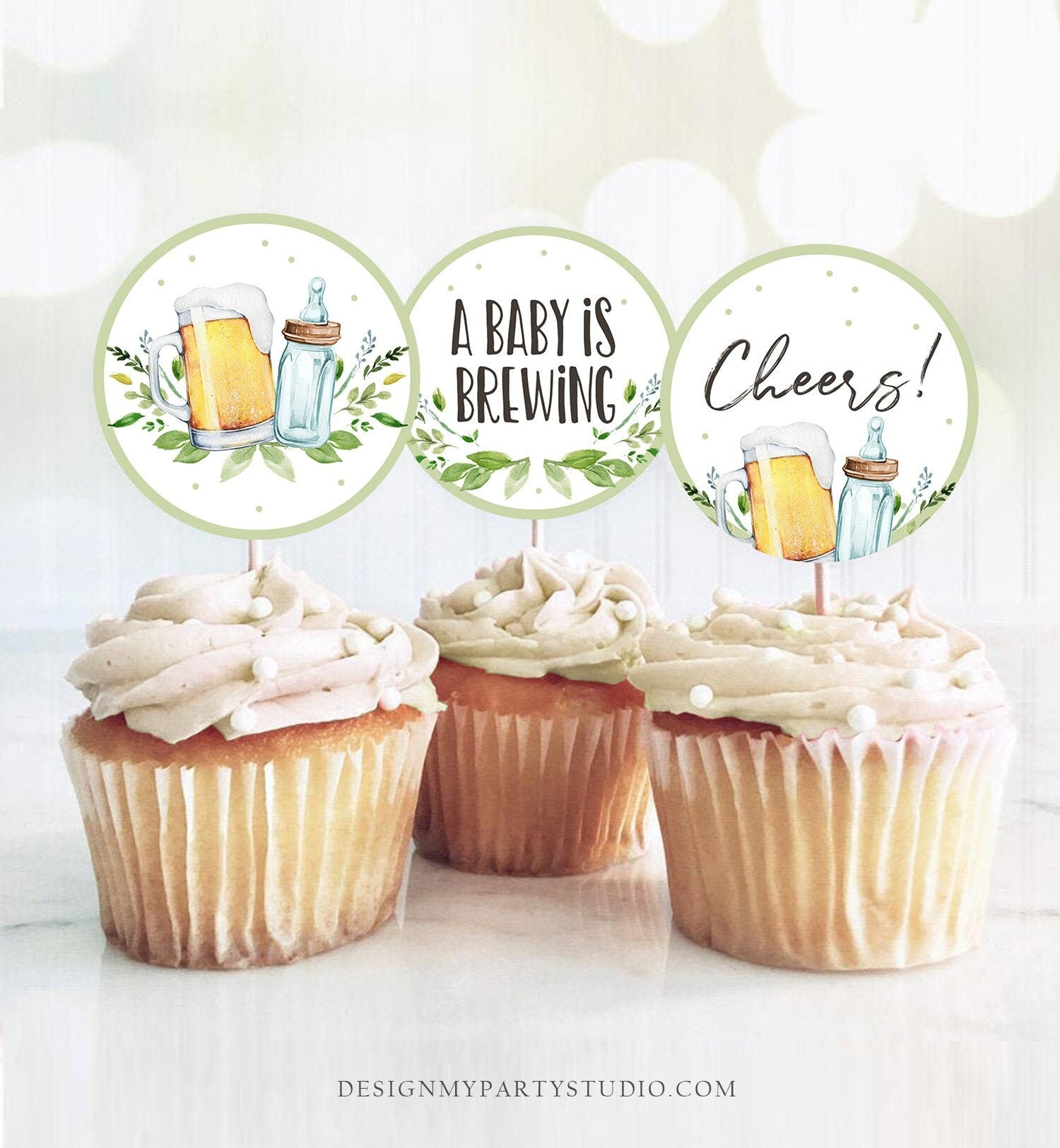 A Baby is Brewing Cupcake Toppers Favor Tags Bottle an Beers Baby Shower Cheers Party Decor Shower Greenery Download Digital PRINTABLE 0190