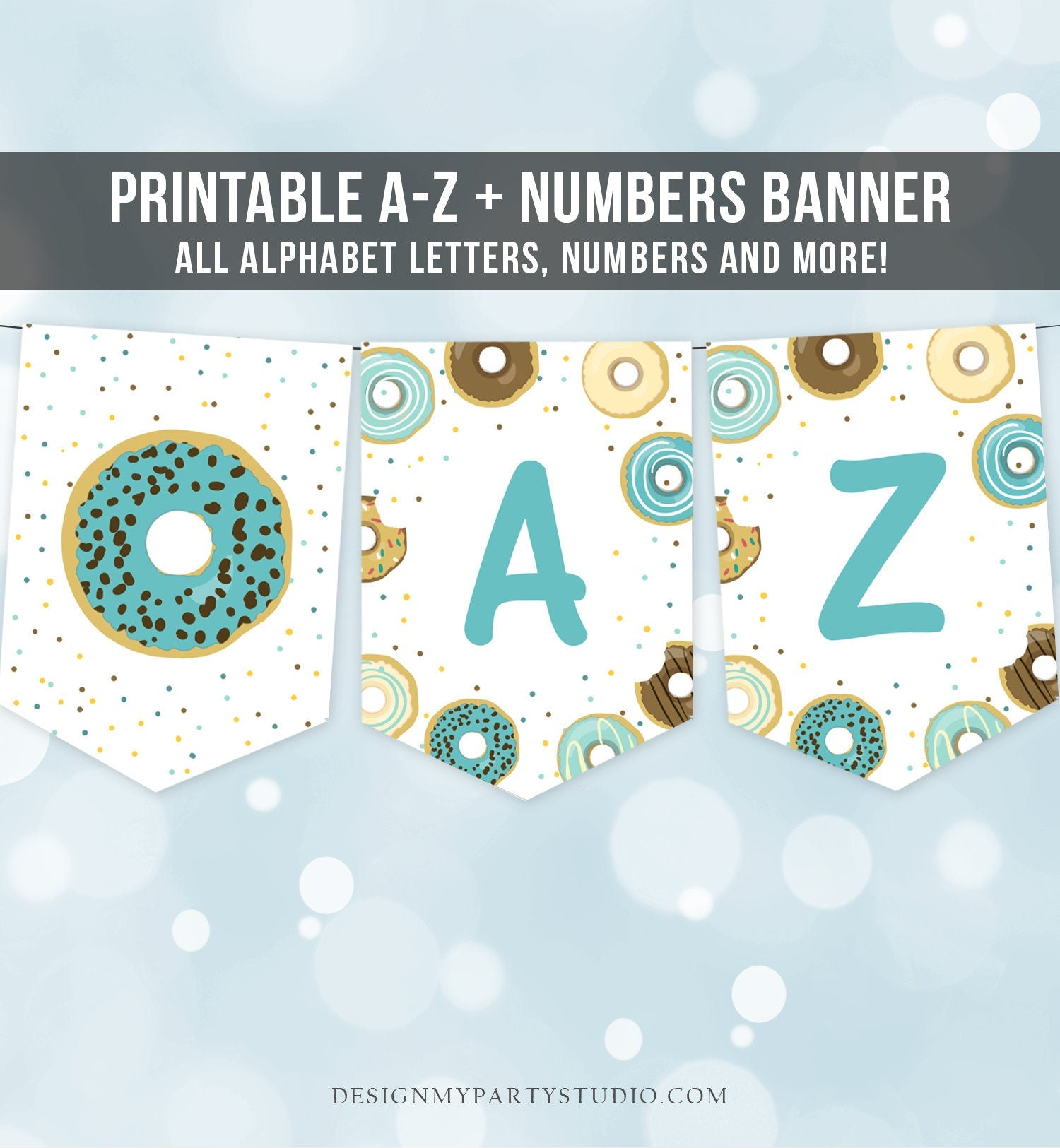 Donut Birthday Banner A-Z Alphabet Numbers Banner Boy Blue Doughnut Party Happy Birthday Decoration Digital Download Printable 0050