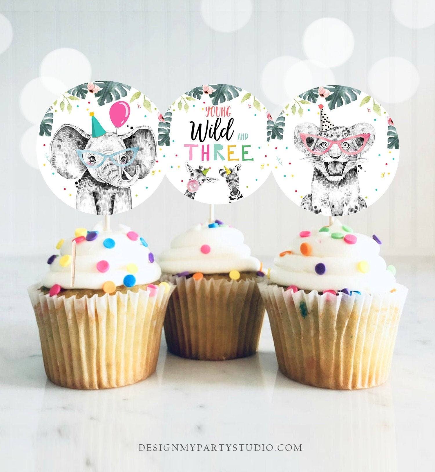 Party Animals Cupcake Toppers Favor Tags Birthday Party Decoration Safari Animals Zoo Young Wild and Three download Digital PRINTABLE 0322