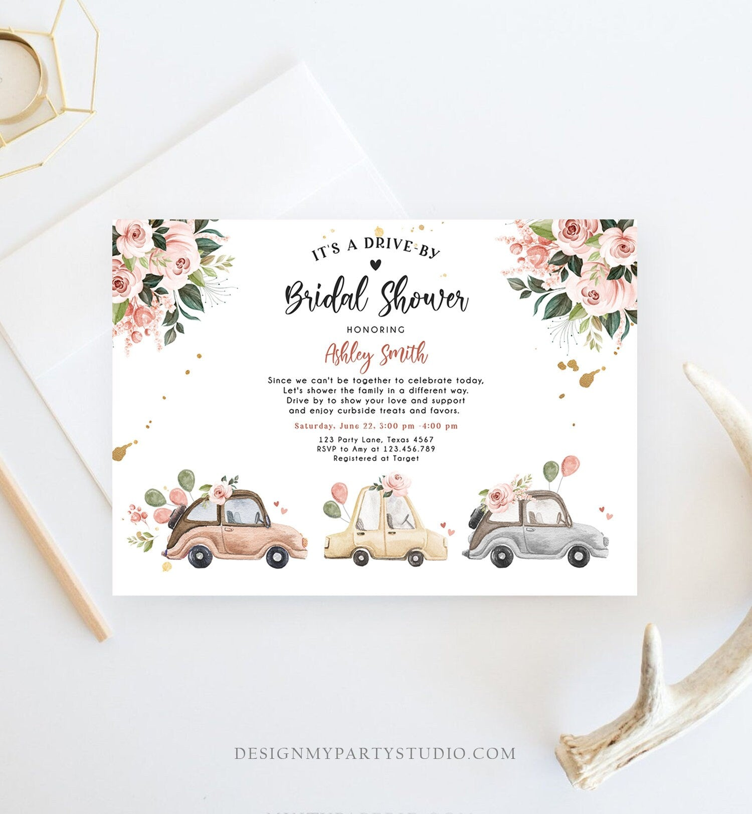 Editable Drive By Bridal Shower Invitation Couples Shower Invite Quarantine Drive Through Neutral Floral Wedding Digital Corjl Template 0335