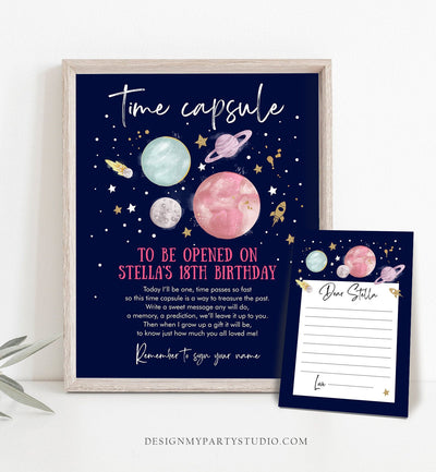 Editable Outer Space Time Capsule First Birthday Party Astronaut Rocket Space Girl Pink Moon Planets Guestbook Template Printable Corjl 0357