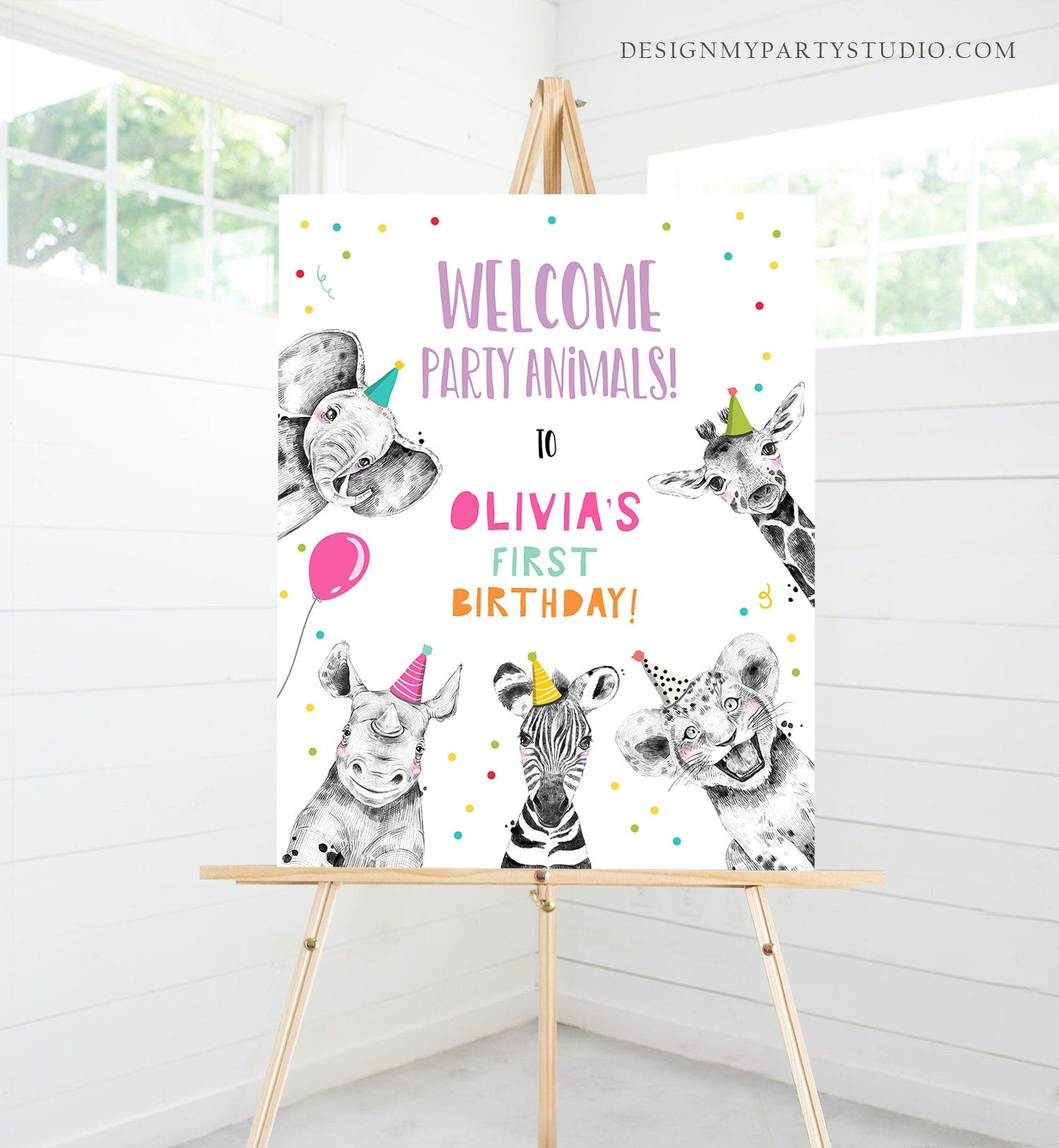 Editable Party Animals Welcome Sign Party Animal Sign Zoo Safari Welcome Jungle Sign Birthday Animals Girl Template PRINTABLE Corjl 0390