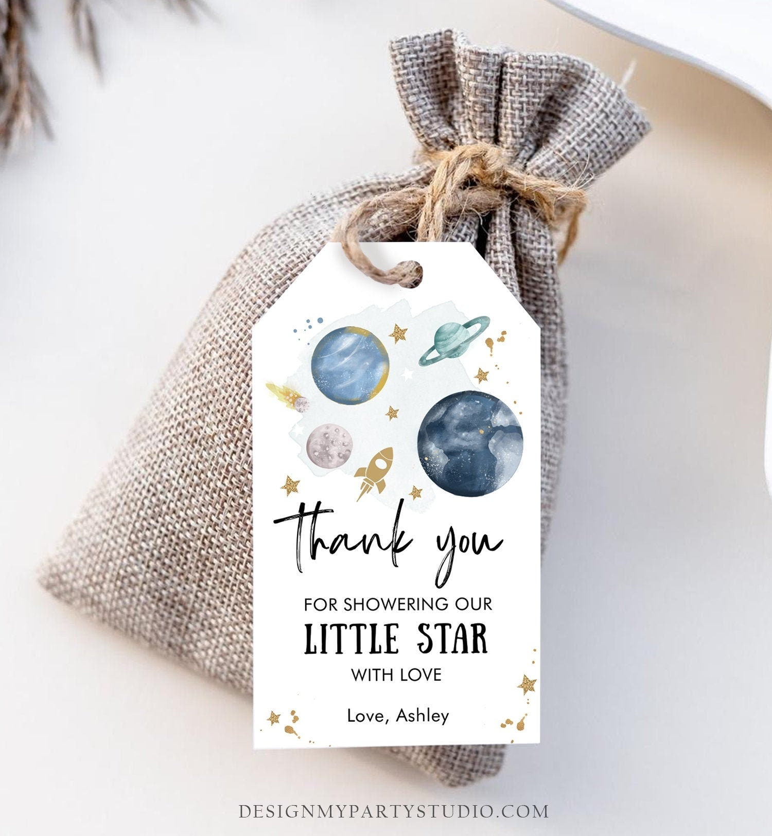 Editable Outer Space Favor Tags Space Baby Shower Thank You Boy Little Star Twinkle Gift Around Sun Planets Template Corjl PRINTABLE 0357