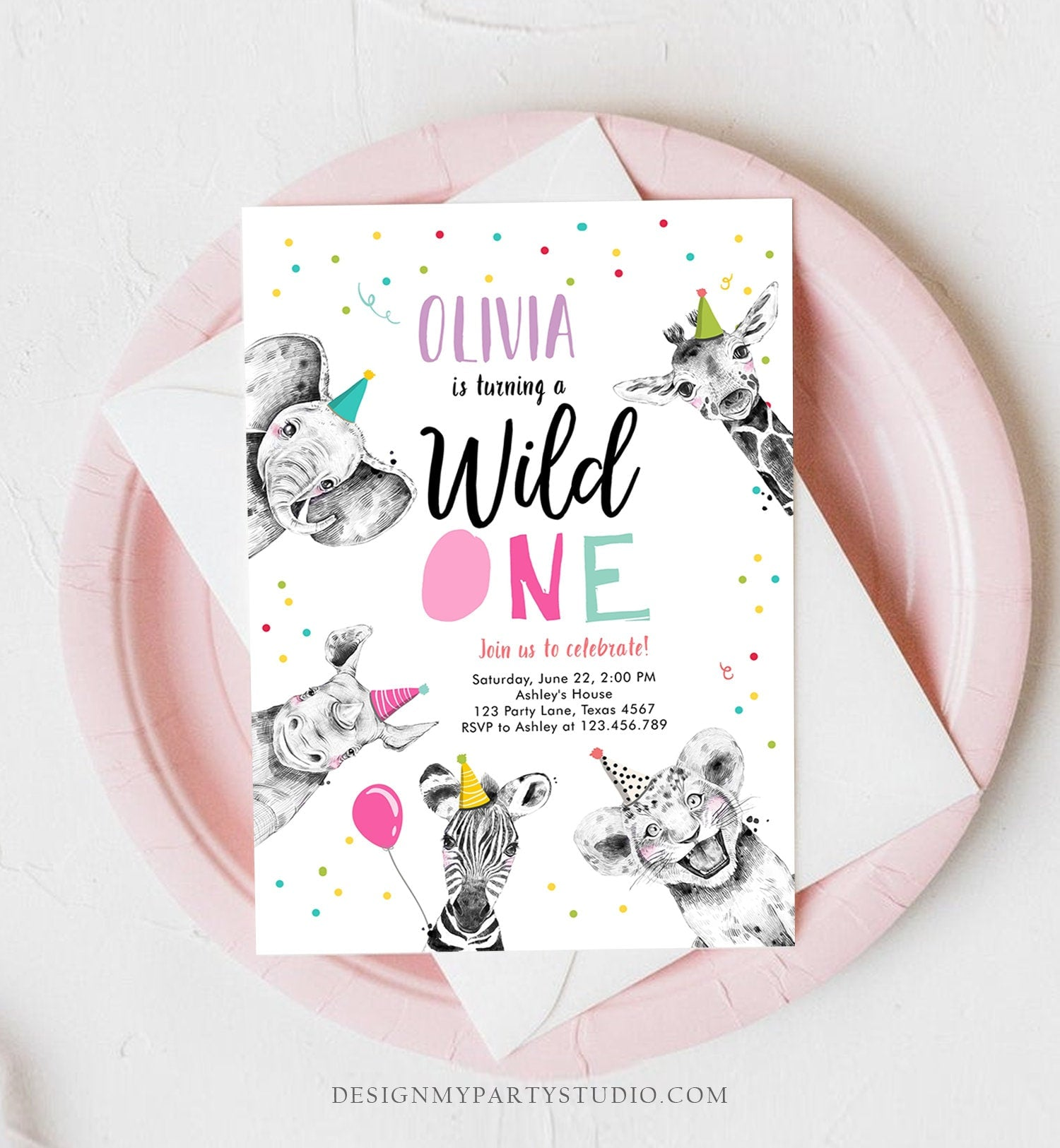 Editable Wild One Invitation Safari Animals Party Animals Girl Pink Gold First Birthday 1st Zoo Confetti Corjl Template Printable 0390