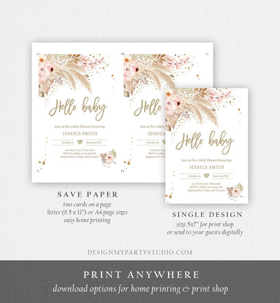 Editable Pampas Grass Baby Shower Invitation Boho Baby Shower Bohemian Shower Tropical Download Printable Invitation Template Corjl 0395