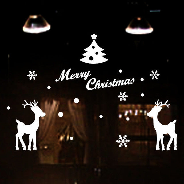christmas decorations for home Merry Christmas Tree Snowflake Decoration Window Stickers decoration vinilos paredes navidad