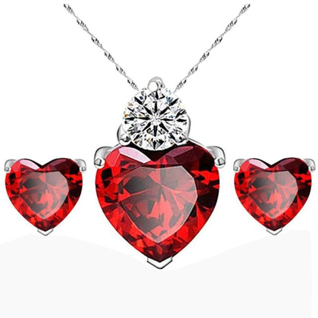 Sincere heart necklace earrings set Women Gold Red Heart Crystal Jewelry Sets Wedding Necklace Earring Sets Jewelry