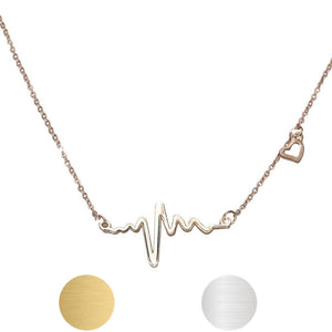 Fine jewelry Stainless Steel Heart Beat Pendant Heartbeat Statement Necklace Chain ECG Necklace #30