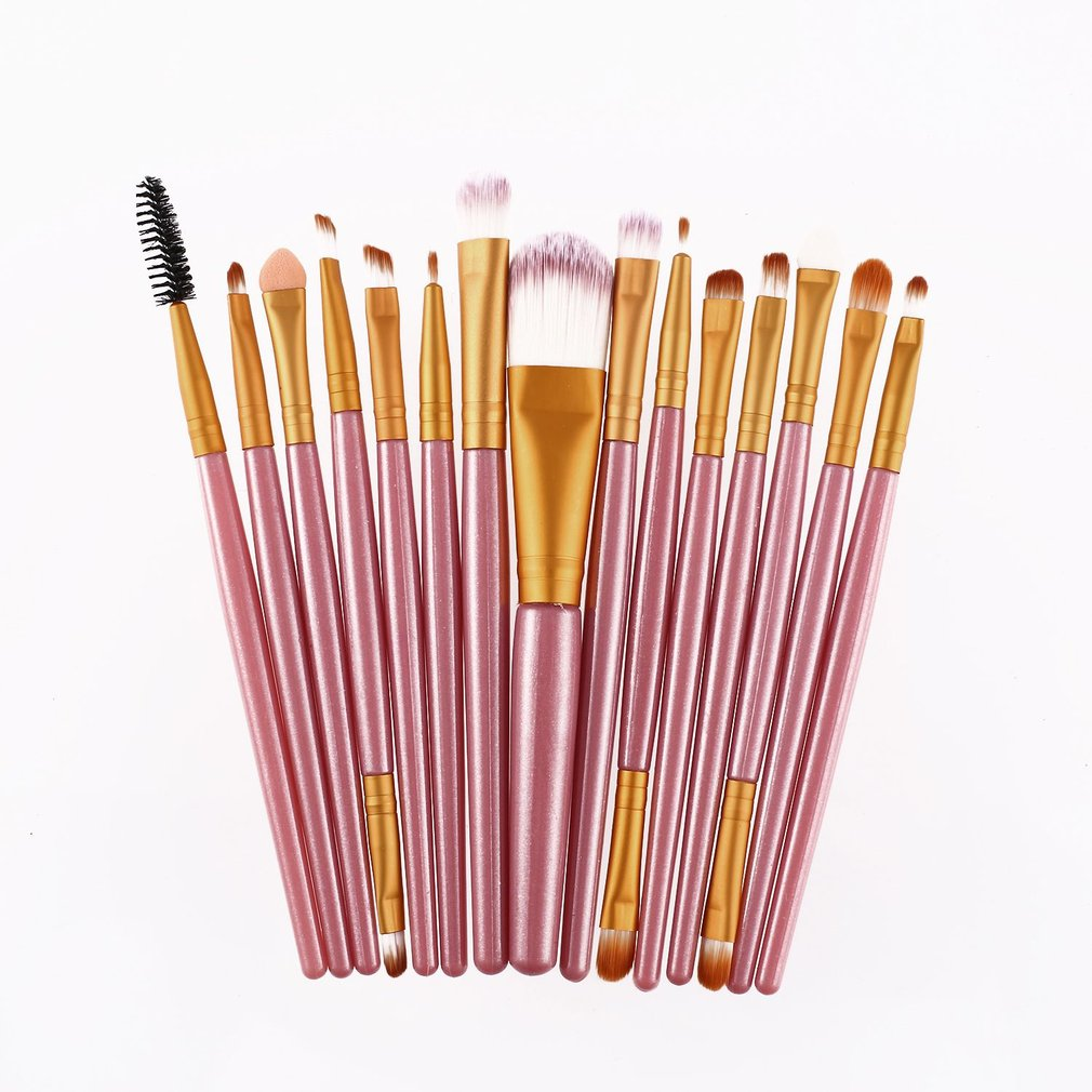 15Pcs Makeup Brushes Set Kits Eyelash Lip Foundation Powder Eye Shadow Brow Eyeliner Cosmetic Make Up Brush Beauty Tool