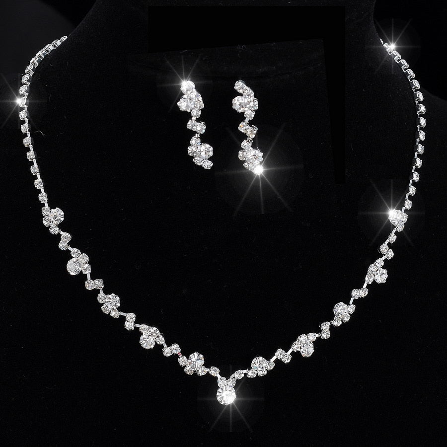 Silver Tone Crystal Tennis jewelry sets Choker Necklace Jewelry Set Earrings Bridal Jewelry Wedding Bridesmaid Jewelry Set