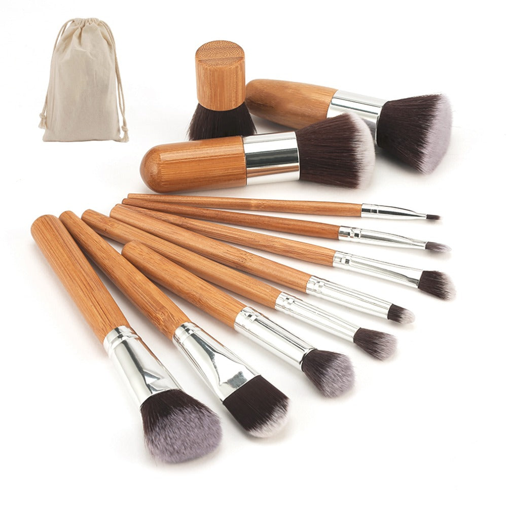 2018 New Makeup Tool Natural Bamboo Professional Makeup Brushes Set Powder Foundation Eyeshadow Blending Brush Make up Tool Kit