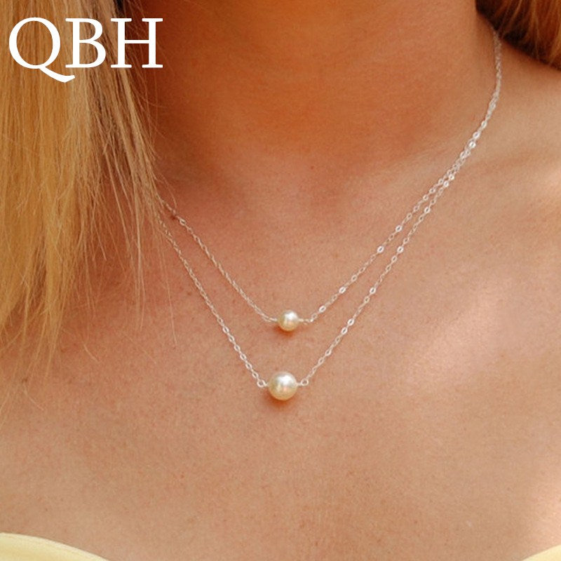 Hot Sale Fashion Sweet Double Layers imitation Pearls Ball Droplets Pendants Necklaces Cheap Clavicle Jewelry For Women