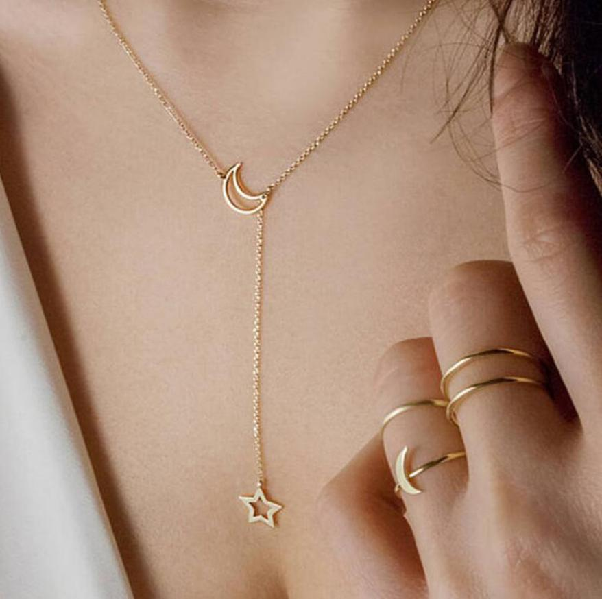 Fabulous Women's Moon Star Pendant Choker Necklace Gold Silver Long Chain Jewelry Simple Pendientes Torque Necklace Trinket Jewelry