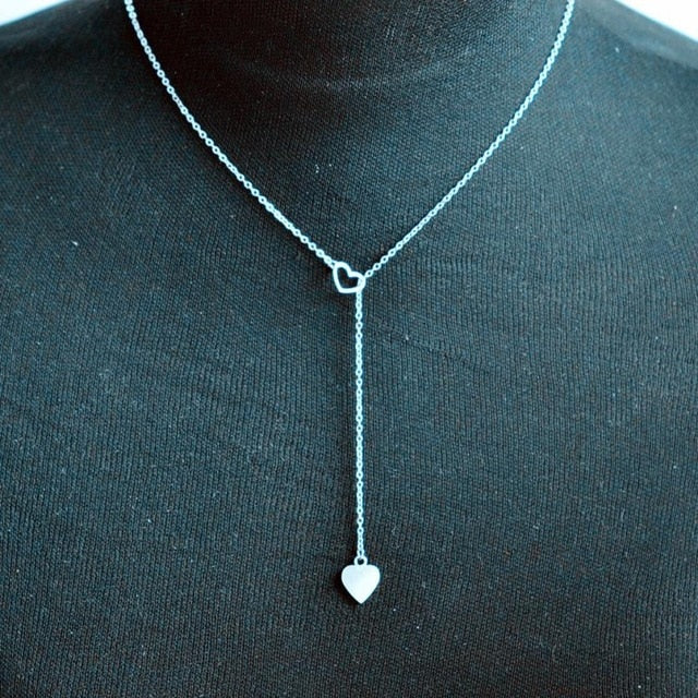 Beauty Charm Women Necklace Jewelry Stainless Steel Choker Three Heart Pendant Chain Necklace Fantastic Torque Ornaments Chokers