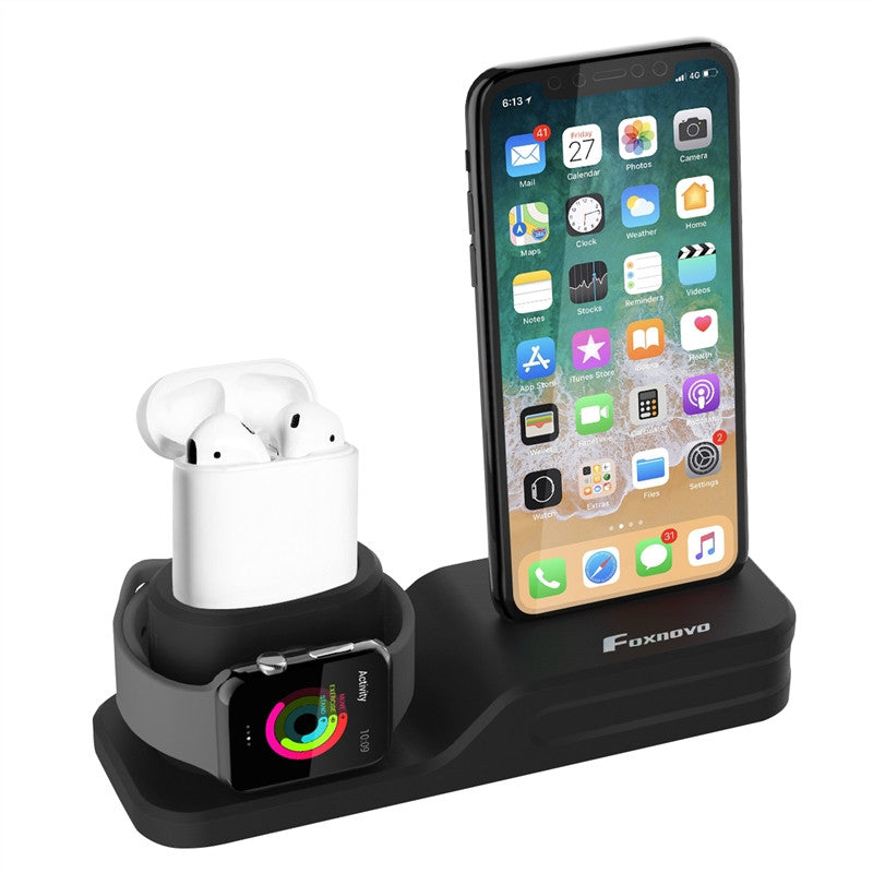 FOXNOVO 3 in 1 Premium Silicone Stand Charging Dock for AirPods & Apple Watch & iPhone