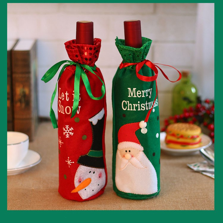 Christmas Gift Bags Santa Christmas Wine Bottle Covers for Dress up Wine Bottle, Party Decorations, Xmas Ornaments