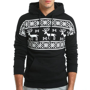 Loldeal Fashion Christmas Snowflower Prints Pullover Winter Sweater Men Black  Sweater  Men's Elk Hood Kerst Trui Mannen Women