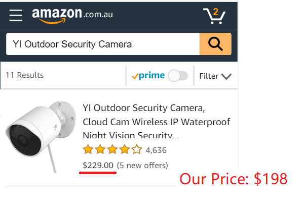 YI Outdoor Security Camera, 1080p Cloud Cam 2 4G Wireless IP Waterproof  Night Vision Surveillance System with Motion Detection, Activity Alert, App