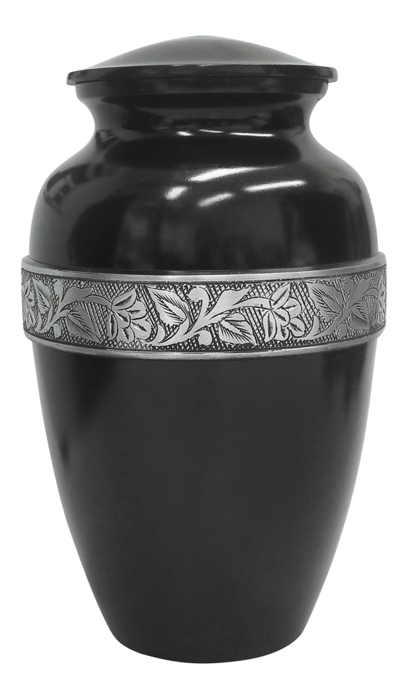 Large Black & Silver Pattern Urn - ETL06