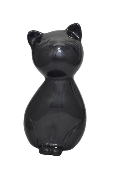 Black Enamel Cat Urn - ETP02
