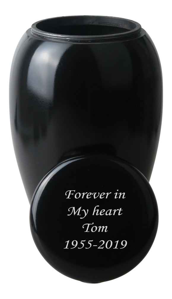 Large Classic Black Urn with Optional Personalised Engraving - ETL04