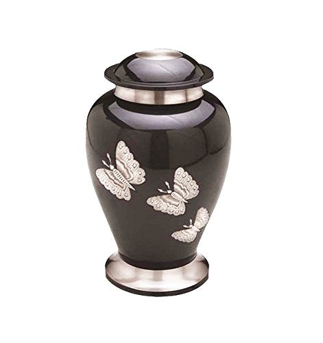 Large Black & Silver Butterfly Urn - ETL24