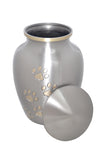 Silver with Gold Paw Prints Urn - ETP12
