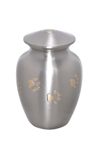 Silver with Gold Paw Prints Around Urn - ETP17